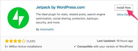 Install jetpack plugin wordpress