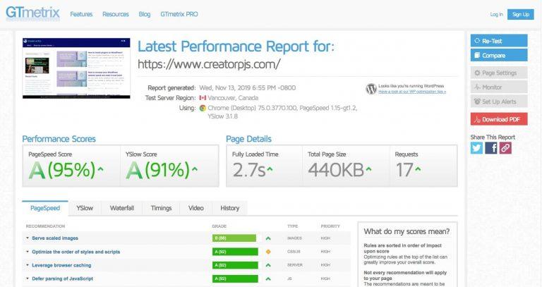 gtmetrix website speed tester