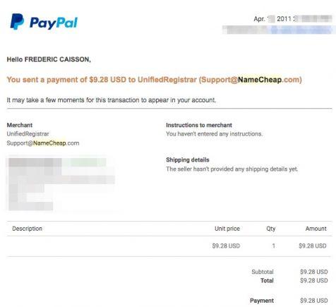 Namecheap payment
